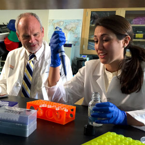 Bill Petri, MD, PhD, and Erica L. Buonomo, PhD, collaborate at UVA.
