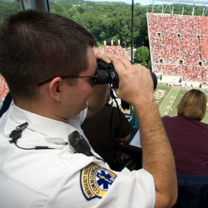 Virginia Tech Rescue Squad members provide emergency medical services on game days.