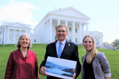 Chesapeake Bay Foundation staff present Sen Hanger with the 2019 award in Richmond (Credit CBF-Kenny Fletcher)