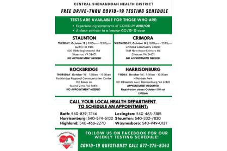 Free COVID-19 testing events in Waynesboro, Crimora, Buena ...