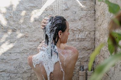 outdoor shower woman