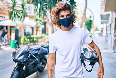 motorcycle helmet man covid mask